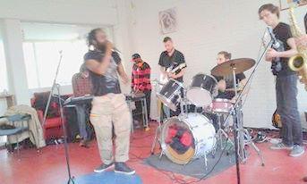 bewerkt Rastafrika band