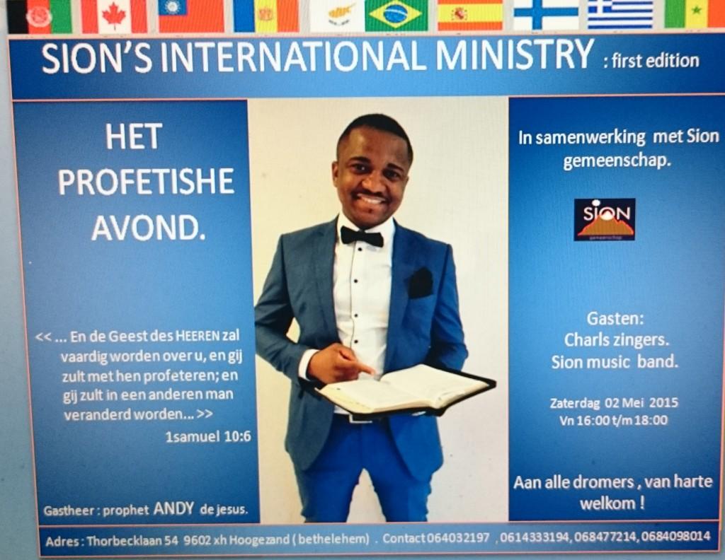 Sion profetische avond. 16.00 uur tot 18.00 uur. De Badde Hoogezand