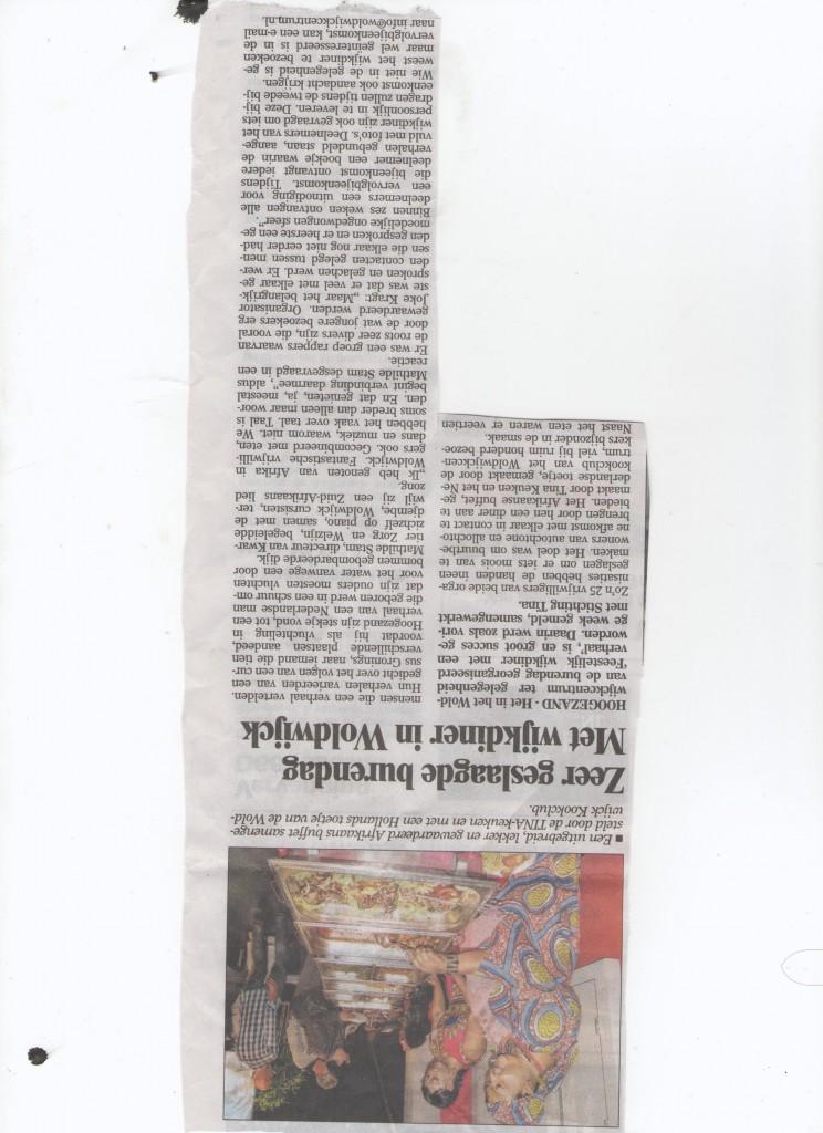 krank artikel Wijkdiner met een verhaal WOLDWIJK HOOGEZAND REGIO KRANT